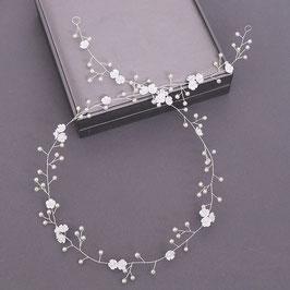 Haarschmuck Braut Haardraht Blumen Perlen Silber Haarschmuck Braut Kopfschmuck Hochzeit Haarschmuck N2377