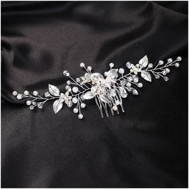 Haarkamm Silber Blumen Strass Perlen Haarschmuck Braut Haarschmuck Hochzeit N3321-Silber