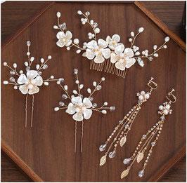 Haarschmuck Set Gold Blumen Perlen Haarkamm 1. Stk. & Haarnadeln 2. Stk. & Ohrringe N3038