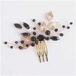 Haarkamm Gold schwarz Haarschmuck Braut Haarschmuck Hochzeit N33803