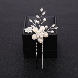 Set 3 Stück Haarnadeln Blumen Perlen Silber Haarnadeln Hochzeit Haarnadeln Braut Haarschmuck Perlen N60118