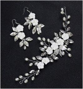 Haardraht Blumen Perlen Strass & Ohrringe Art. N8000