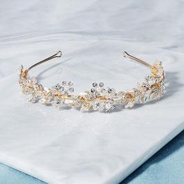 Diadem Gold Perlen Blumen Strass Haarschmuck Braut Diadem Hochzeit Haarschmuck Festlich N28035-Gold