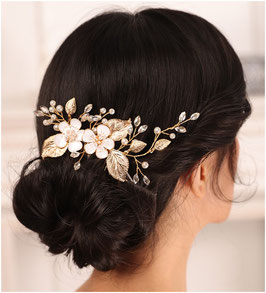 Haarklammer Gold Blumen Perlen Strass Haarschmuck Hochzeit Haarschmuck Braut N4829