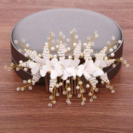 Haarschmuck Braut Haarkamm Perlen Blumen Gold Haarschmuck Hochzeit N37303 Brautschmuck Haare