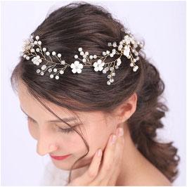 Haardraht Blumen Perlen Gold Haarschmuck Braut Kopfschmuck Haarschmuck Hochzeit N2308-Gold