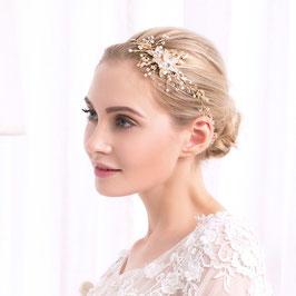 Haarband Haardraht Blumen Perlen Gold Haarschmuck Braut Kopfschmuck Hochzeit Haarschmuck Festlich N20222-Gold