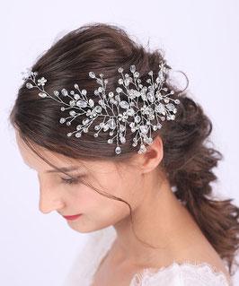 Haarschmuck Braut Haardraht Silber Perlen Strass N20910-Silber Brautschmuck Haarband Silber Perlen Strass Haarschmuck Festlich Haarschmuck Hochzeit