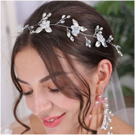 Haarband-Haardraht Blumen Perlen Silber Haarschmuck Braut Kopfschmuck Haarschmuck Hochzeit N2305-Silber