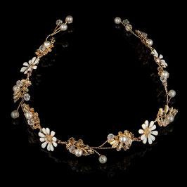 Braut Haardraht Gold Blumen Perlen Vintage N2952 Brautschmuck Boho Haardraht Haarschmuck Festlich