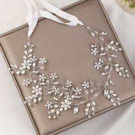 Haarband Blumen Perlen Silber Haarschmuck Braut Haarschmuck Hochzeit N218208 Haarband Braut Haarband Hochzeit