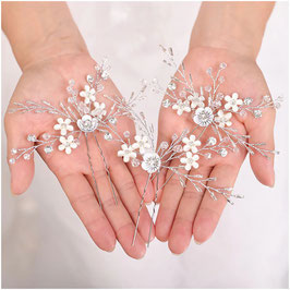 Haarnadeln Braut Haarnadeln Blumen Perlen Haarschmuck Hochzeit (Set 3 Stück) N6719