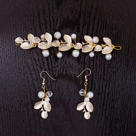 Haardraht Gold Perlen & Ohrringe Gold Perlen N2101