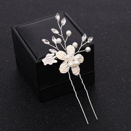 Set 2 Stück Haarnadeln Blumen Perlen Silber Haarnadeln Hochzeit Haarnadeln Braut Haarschmuck Perlen N60117