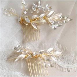 Haarschmuck Set 2. Stk. Haarschmuck Gold Strass Perlen Vintage Haarschmuck Hochzeit Haarschmuck Braut Haarschmuck Festlich N300112