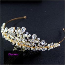 Diadem Perlen Strass Gold Haarschmuck Braut Haarschmuck Hochzeit N1785 Diadem Hochzeit