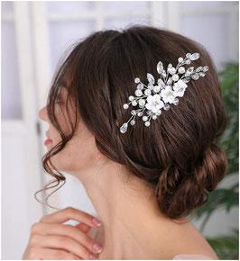 Haarschmuck Braut Haarklammer Blumen Perlen Strass Silber N4811 Haarschmuck Hochzeit