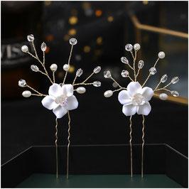 Haarnadeln Braut Haarschmuck Hochzeit (Set 2 Stück) N8770 Haarnadeln Perlen Gold