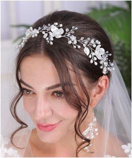 Haarband Blumen Perlen Silber Haarschmuck Braut Kopfschmuck Haarschmuck Hochzeit N2304