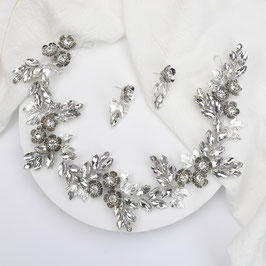 Haarschmuck Braut Haarband Silber Blumen Strass N20712 Brautschmuck Haarband Braut Haarschmuck Hochzeit