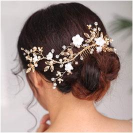Haarkamm Gold Blumen Perlen Haarschmuck Braut Haarschmuck Hochzeit N3012