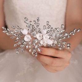 Brautschmuck Haarkamm Blumen Strass Silber N33022 Haarschmuck Braut Haarschmuck Hochzeit