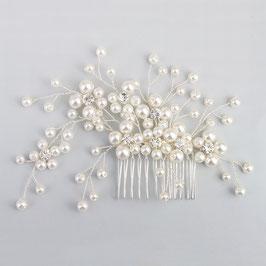 Braut Haarkamm Perlen Silber Hochzeit Haarschmuck N31969