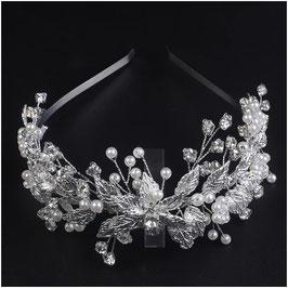 Haarreif Silber Perlen Strass Haarschmuck Hochzeit Haarschmuck Braut N1441-Silber