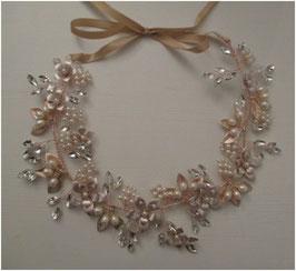 Haarband Rosegold Blumen Perlen Haarschmuck Braut Haarschmuck Hochzeit N23308 Haarband Braut Haarband Hochzeit