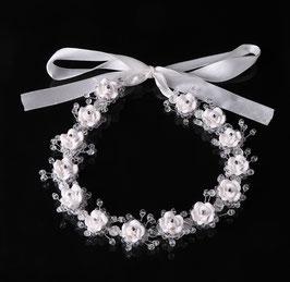 Haardraht Braut Haarband Blumen Perlen N2991 Haarschmuck Hochzeit