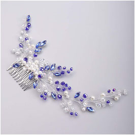 Haarkamm Silber Perlen Blau Haarschmuck Braut Haarschmuck Hochzeit N39111