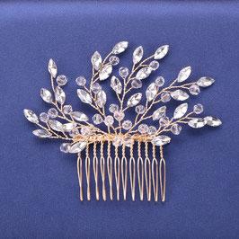 Haarkamm Gold Perlen für die Braut mit Blättern aus Strass N3019 Haarschmuck Gold