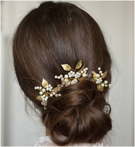 Haarnadeln Braut Haarnadeln Gold Blumen Perlen Haarschmuck Hochzeit (Set 3 Stück) N62701 Haarschmuck Gold Perlen Blumen