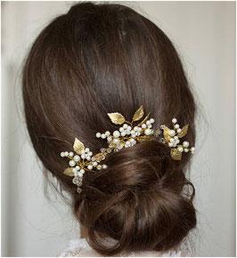 Set 3 Stk. Haarnadeln Braut Haarnadeln Gold Blumen Perlen Haarschmuck Hochzeit (Set 3 Stück) N62701 Haarschmuck Gold Perlen Blumen