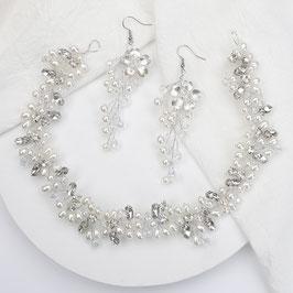 Haarschmuck Braut Haarband Perlen Blumen Strass Silber N20715 Brautschmuck Haarband Braut Haarschmuck Hochzeit