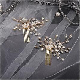 Haarschmuck Set 2. Stk. Haarschmuck Gold Strass Perlen Haarschmuck Hochzeit Haarschmuck Braut Haarschmuck Festlich N300114