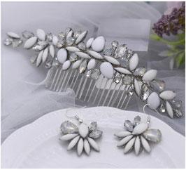 Haarkamm Blumen Perlen Strass & Ohrringe N3096