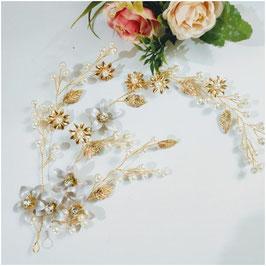 Haarschmuck Braut Haardraht Blumen Perlen N25040 Haarschmuck Hochzeit Haarschmuck Festlich