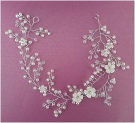 Haardraht-Haarband Blumen Perlen Silber Haarschmuck Braut Kopfschmuck Haarschmuck Hochzeit N2308-Silber