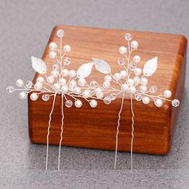 Set 2 Stück Haarnadeln Perlen Silber Haarschmuck für die Hochzeit mit Blättern N6989
