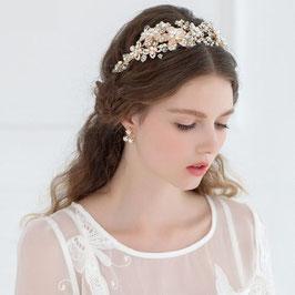 Haarreif Gold Perlen Strass Haarschmuck Hochzeit Haarschmuck Braut N1580-Gold