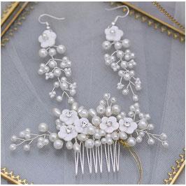 Haarkamm Blumen Perlen Strass & Ohrringe N3095