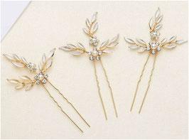Haarnadeln Blumen Strass Perlen Haarnadeln Braut Haarschmuck Hochzeit Haarschmuck Festlich (Set 3 Stück) N6088