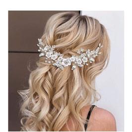 Haarschmuck Braut Haarschmuck Blumen Perlen Silber Haarschmuck Hochzeit N2177