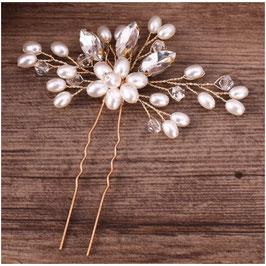 Set 2 Stk.Haarschmuck Braut Haarnadeln Hochzeit Perlen Gold (Set 2 Stück) N66174 Haarschmuck Gold Perlen Strass