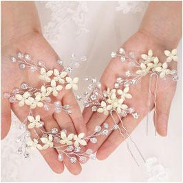 Haardraht Blumen Perlen Strass 1. Stk. & Haarnadeln Blumen Perlen Strass 2. Stk. Haarschmuck Braut Haarschmuck Hochzeit N27009