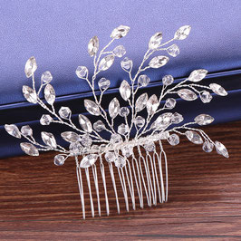 Haarkamm Silber für die Braut mit Blättern aus Strass N30018