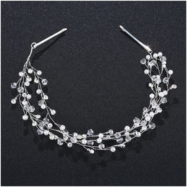 Haarband Perlen Strass Silber Haarschmuck Braut Haarschmuck Hochzeit N2916