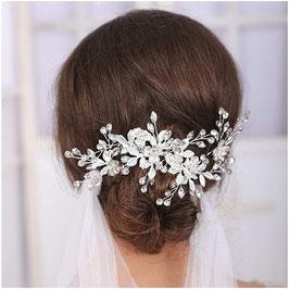 Haarschmuck Set - Haarklammer 1 Stk. & Haarnadeln 2 Stk. Haarschmuck Braut N70295 Haarschmuck Hochzeit Haarschmuck Silber Blumen Perlen Strass
