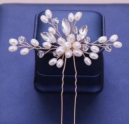 Haarschmuck Braut Haarnadeln Hochzeit Perlen Gold (Set 2 Stück) N66174 Haarschmuck Gold Perlen Strass